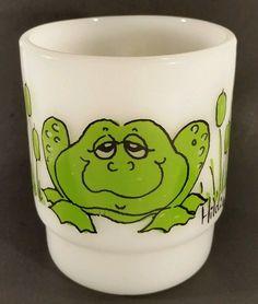 VINTAGE ANCHOR HOCKING FIRE KING HILDI GREEN FROG MILK GLASS COFFEE MUG CUP #AnchorHockingFireKing
