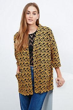 Staring At Stars Geo Jacquard Cardigan in Yellow - Urban Outfitters