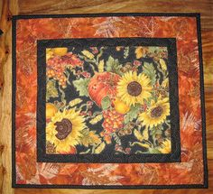 Pumpkin and Sunflowers Quilted Table Topper, Autumn Decor, Fall Table Topper, Thanksgiving Topper, Fall Table Decor, Tahoe Quilts Handmade by TahoeQuilts on Etsy