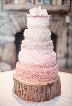 pink ombre rustic wedding cake