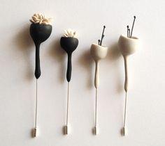 Eried Minimal Handsculpted Bell Flower Brooches