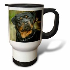 3dRose Rottweiler Portrait, Travel Mug, 14oz, Stainless Steel