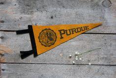 vintage felt purdue pennant / vintage school by wretchedshekels, http://www.etsy.com/shop/wretchedshekels