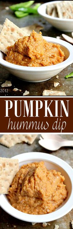 Pumpkin Hummus Dip - A delicious dip for snack time, and a great alternative way to use up pumpkin!