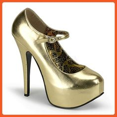 Women s Bordello Teeze-07 Mary Jane Concealed Platform Pump Gold 8 - Pumps  for women 21460bfbda9