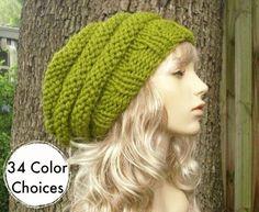 6353fc963ef Womens Hat Slouchy Beanie Green Hat Green Beret - Oversized Beehive Beret  Hat Lemongrass Green Knit Hat