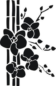 Bambus mit Orchidee Vorlage und Clipart