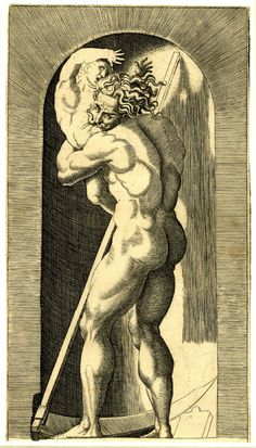 Naked Saturn set within a niche devouring his son, a scythe rests in front of him