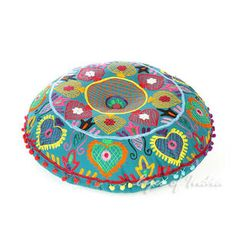Teal Blue Green Embroidered Decorative Seating Boho Floor Pillow Cushion Pouf Cover - 24""