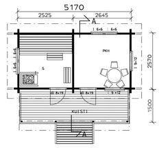Saunamökki Elliida - Joro-Huvilat Sissi, Aqua, Floor Plans, Water, Floor Plan Drawing, House Floor Plans