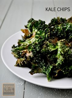 Kale Chips Recipe | Kansas City Mamas.com -- 2 bunches of kale (about 2.5 lbs) 1/4 cup olive oil Kosher Salt Ground Black Pepper