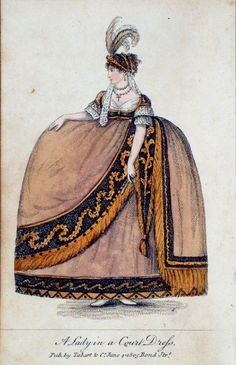 ca 1805 A collection of late-Georgian and Regency-era fashion plates depicting court dress, exhibiting the fantastic hoops mandated by Queen Charlotte and worn until her death in 1818