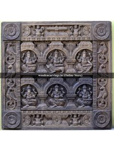 Teak Wood colour Wooden MahaGanapathi Square Panel Hindu god Ganesha wooden deity for the home decoration for auspicious feel on the interior of the home wooden deities from the artists online with the best price Wooden Statues, White Lotus, Home Decor Online, Wood Wall Decor, Wooden Walls, Teak Wood, Ganesha, Wood Colors, Wood Paneling