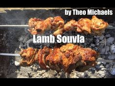 Amazing Lamb Souvla cooked on a rotisserie Greek BBQ by Theo Michaels - lamb cooked on a spit bbq - YouTube
