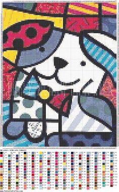 Beaded Cross Stitch, Cross Stitch Charts, Cross Stitch Patterns, Dog Chart, Stain Glass Cross, Cross Stitch Pictures, Zentangle Drawings, Cross Stitch Animals, Cross Stitching