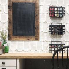 DIY Scallop book page wall in the farmhouse office via Yellow Brick Farmhouse Brick, Renovations, Mini Pool, Diy Wood Projects, Brick Farmhouse, Interior Design, Home Decor, Home Renovation, Design Inspo