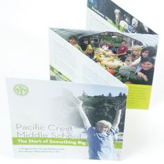 School marketing brochure designed by Blank Space LLC. The brochure introduces Pacific Crest Montessori School to new families. It unfolds to a poster that showcases student artwork and promotes their Introductory Nights for new families. Annual Report Covers, Cover Report, Design Art, Print Design, Graphic Design, Brochure Design, Brochure Ideas, Montessori, School Brochure