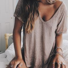freepeople:Cozy tees.Shop this shirt here!