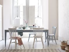Like your kitchen table Medium, Large or Extra Large? Our extendable Tucker, with its reclaimed fir top and soft grey legs, is a flexible one-size-fits-all. Kitchen Table Wood, Wooden Kitchen Table, Peaceful Home, Teak Dining Table, Restaurant Furniture, Dining Room Small, Dining Room Interiors, Home Decor, Kitchen Chairs