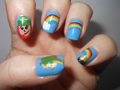 Leprechauns, Clovers and Rainbows  #nails #march