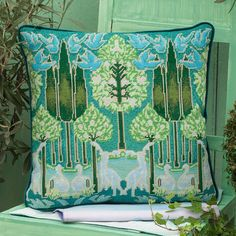 The perfect symmetry of Voysey's Woodland makes this design inspired by work from the Victoria and Albert museum one of our favourites. Needlepoint Patterns, Needlepoint Canvases, Cross Stitch Patterns, Art Nouveau Flowers, Tapestry Kits, Cross Stitch Pillow, Felt Embroidery, Traditional Quilts, Victoria And Albert Museum