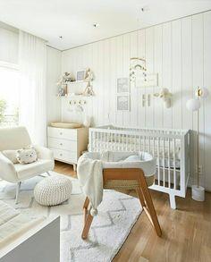 white wood panel nursery, gender neutral nursery with grey accents - Modern Wood Nursery, Baby Nursery Decor, Baby Bedroom, Nursery Room, Nursery Ideas, White Nursery Furniture, Nursery Inspiration, Baby Room Neutral, Nursery Neutral