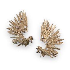 Gold Earclips, 1973 - Yellow Gold textured wire set with Diamonds