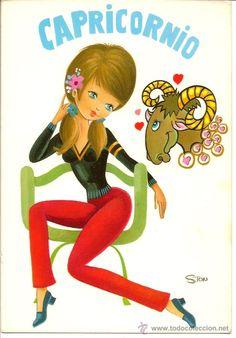 Bonita postal: Horoscopo: Capricornio. Edita C y Z. nº 7600/29-B. Editada en 1975. Dibujo Ston (Postales - Dibujos y Caricaturas)
