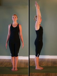 Tadasana - Mountain Pose and Urdhva Hastasana (side view)