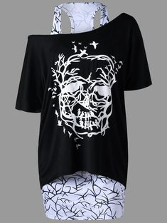 Racerback Tank Dress with Skew Collar T-shirt - WHITE/BLACK M