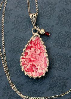 Broken China Jewelry Teardrop China Pendant by Robinsnestcreation1, $48.95