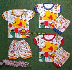 Setelan pendek eros pooh uk S 3-9bl idr 25rb, uk M 6-18bl  26rb, uk L 1-2th 27rb