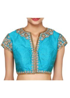 Blue blouse adorn in kundan embroidery only on Kalki