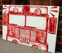 BIG red fire truck art . 20x32 . modern art on by sincerelyYOU
