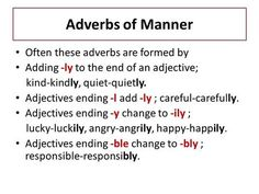 Adverbs of Manner Often these adverbs are formed by Adding -ly to the end of an adjective; kind-kindly, quiet-quietly. Adjectives ending -l…