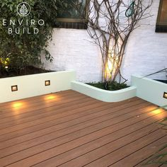 With some sleek Hyperion Frontier Decking in Teak, a white sand and cement border and some built-in lights, it almost feels like being on holiday in a warm country. Outside Living, Outdoor Living, Outdoor Decor, Stop And Shop, Composite Decking, Cement, Teak, Living Spaces, Feels
