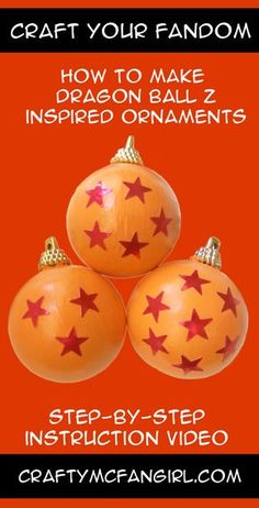 Make these anime DIY Christmas Ornaments and have a Dragon Ball Z Holiday. DIY craft tutorial with video Step-by-step instruction video from GeekyMcFangirl on YouTube and at CraftyMcFangirl.com http://craftymcfangirl.com/home/ http://craftymcfangirl.com/home/geekymcfangirl-on-youtube