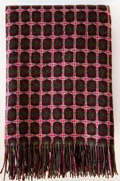 paulette rollo basket weave magenta/green throw