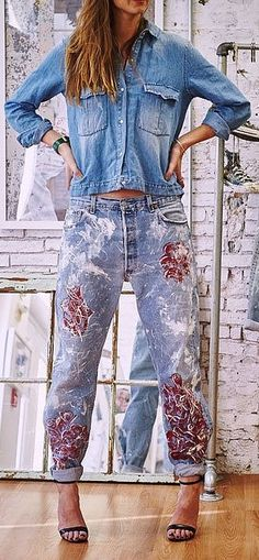 Pair these Rialto Roses Boyfriend Jeans ($495) from Blake Lively's website, Preserve, with a chambray top.