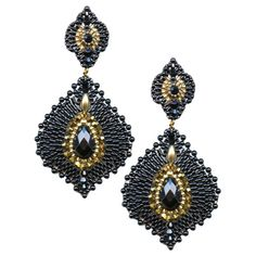 Miguel Ases onyx and jade lotus earrings, E30108  sales@miguelases.com