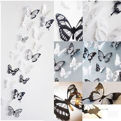 Best pcs D Black White Butterfly Crystal Wall Stickes Decals Home Xmas DIY Decor