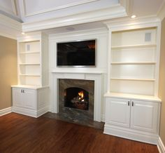 Built In Cabinets With Mantel 1