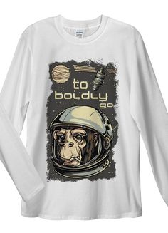 Monkey Astronaut Long Sleeve T-Shirt. Unisex T-Shirt: Made of 100% Pre-Shrunk Jersey Knit Cotton. Weight of the fabric 141g/m²