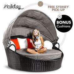 NEW Bio Wicker Black Round Day Bed Sun Lounge Outdoor Rattan Furniture Setting