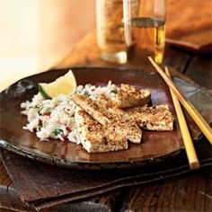 Peanut-Crusted Tofu Triangles   I would leave off the salt, and stir fry veges instead of rice for KickStarter60 style