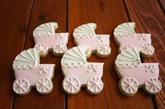 Pink baby carriage cookies