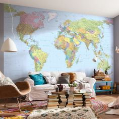 Classic world map wallpaper stylish map mural muralswallpaper world map fleece mural altimagethree gumiabroncs Gallery
