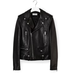 Saint Laurent Black Biker Jacket ($3,375) ❤ liked on Polyvore featuring outerwear, jackets, tops, zip jacket, yves saint laurent, motorcycle jacket, moto jacket and rider jacket