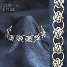 Bracelet  Steel Cloud Cover Circles  Celtic by SteamPunkGarage, $45.00