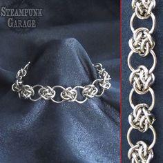 Bracelet  Steel Cloud Cover Circles  Celtic by SteamPunkGarage, $45.00